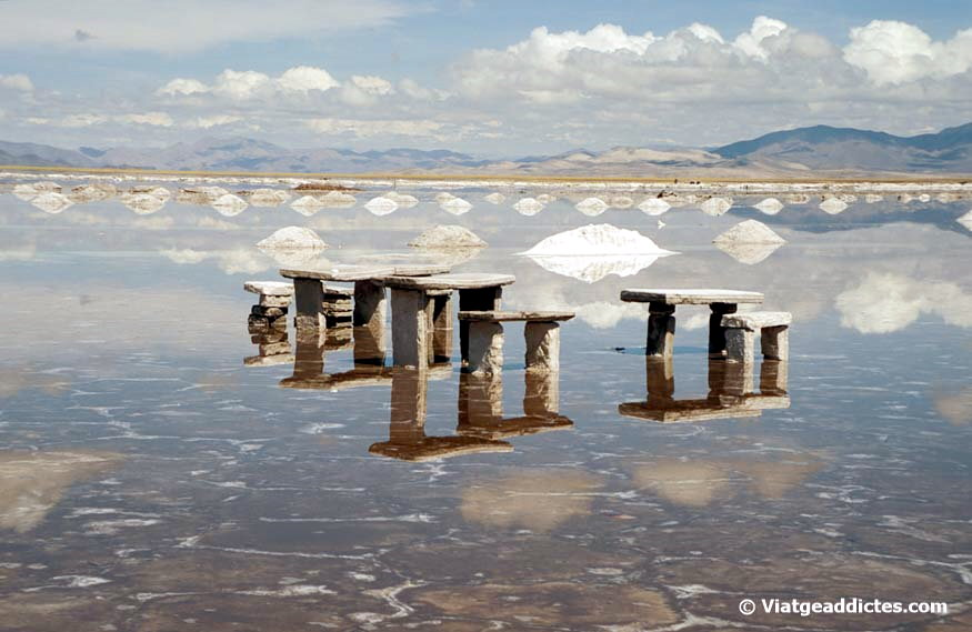 Reflections over the water in Salinas Grandes