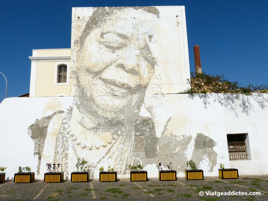 Mural dedicated to Cesaria Évora in Mindelo, her hometown