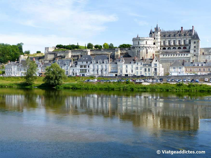 Amboise castle, view from Ile d'Or island in the Loire river