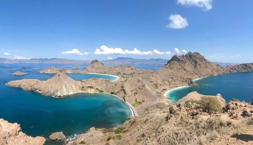 View over the three bays in Padar island